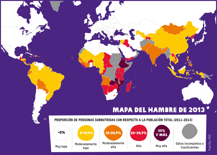 Mapa del Hambre. Fuente FAO
